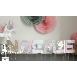 Lettre décorée 12cm ange rose pastel kraft et blanc