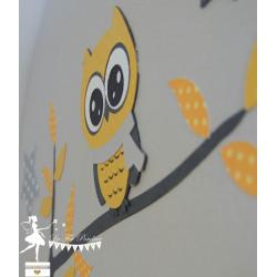 Urne Essentielle hibou jaune gris