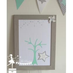 Arbre à empreintes thème étoile nuage et moulin gris, vert mint et blanc