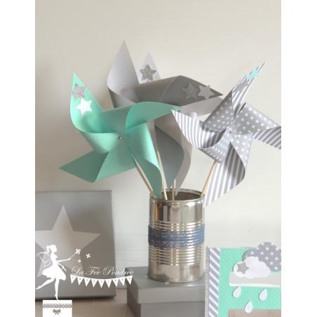 10 Moulins à vent vert mint gris et blanc décor étoiles