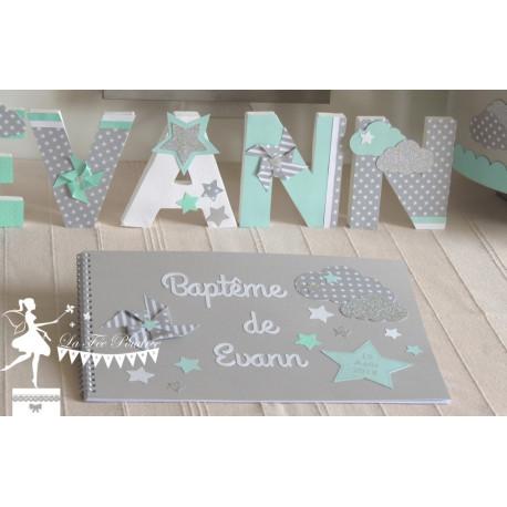 Livre d'or CLASSIQUE Etoile nuage et moulin gris, vert mint & blanc