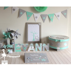 Lettre décorée 12 cm Etoile, nuage et moulin vert mint gris et blanc