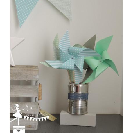 10 Moulins à vent bleu pastel gris et vert mint
