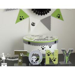 Lettre décorée 12cm panda vert pomme noir et blanc PRIX UNITAIRE