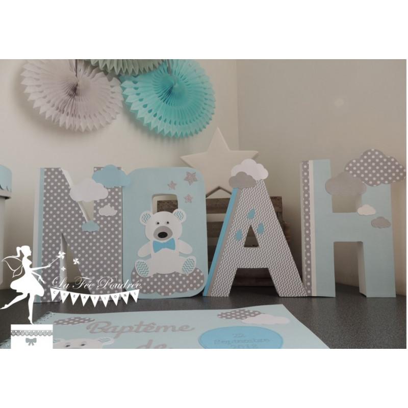 Lettre décorée 20 cm Nuage nounours et montgolfière Bleu pastel, gris et blanc PRIX UNITAIRE