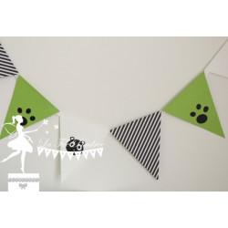Guirlande de fanions Panda noir, blanc et vert