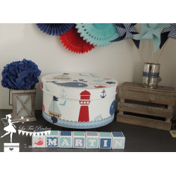 Boîte à souvenirs thème marin bleu blanc rouge et argent
