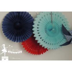 Lot de 3 pompons dentelle bleu marine  bleu pastel et rouge