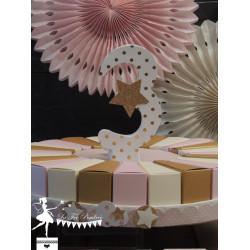 Chiffre décoré 12 cm Etoiles blanc et doré PRIX UNITAIRE