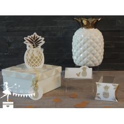 10 Marque places Ananas blancs et dorés