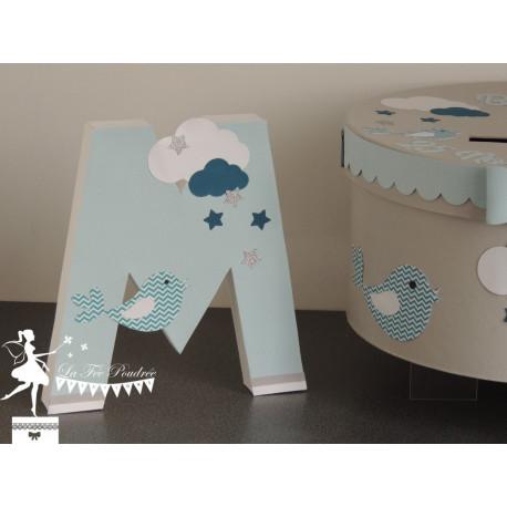 Lettre décorée 20 cm Etoiles, nuages et oiseau bleu et gris pastel, blanc et pétrole PRIX UNITAIRE