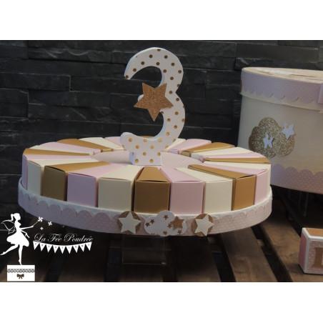 Gateau de dragées 24 parts Rose poudré ivoire et doré