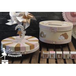 Cubes prénom décorés rose, ivoire et doré PRIX UNITAIRE