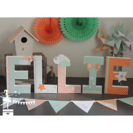 Lettre décorée 20 cm Etoiles & nuages mint & pêche Fille PRIX UNITAIRE