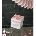 Boite cubique blanche décors bonbons et moulin roses