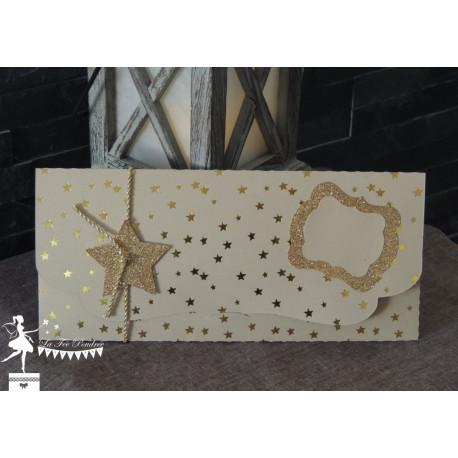 Pochette cadeau kraft étoiles dorées