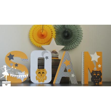 Lettre décorée 20 cm Hibou jaune et gris PRIX UNITAIRE