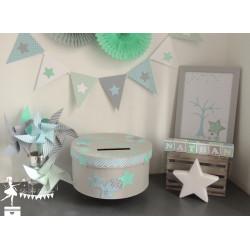 Guirlande de fanions  bleu pastel, vert mint et gris décor étoile