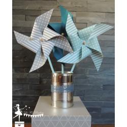6 Moulins à vent tournants bleu pastel, gris & pétrole