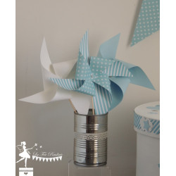 10 Moulins à vent bleu pastel & blanc