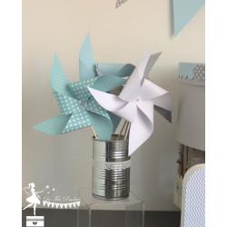 10 Moulins à vent bleu pastel gris et blanc