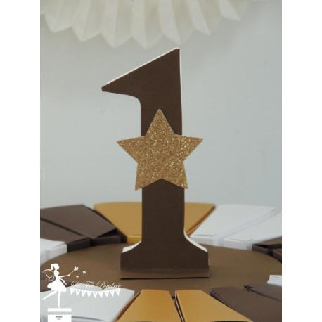 Chiffre décoré 12 cm chocolat étoile dorée PRIX UNITAIRE