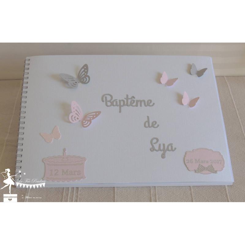 Livre D Or Essentiel Papillon Rose Blanc Gris La Fee Poudree