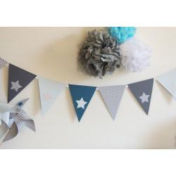 Guirlande de fanions bleu gris clair et foncé pétrole décor étoile