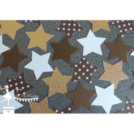 Sachet de confetti étoile chocolat doré et blanc neigeux