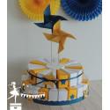 Gateau de dragées 24 parts jaune blanc touche marine