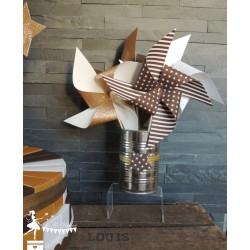10 Moulins à vent chocolat doré et blanc neigeux