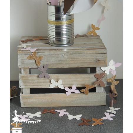 Guirlande de papillons cousue chocolat rose ivoire doré