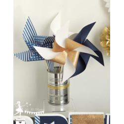 10 Moulins à vent bleu marine doré et blanc