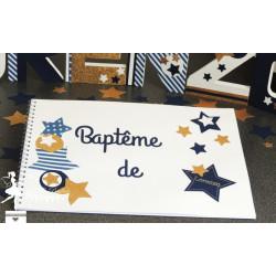 Livre d'or CLASSIQUE Etoile bleu marine, doré et blanc