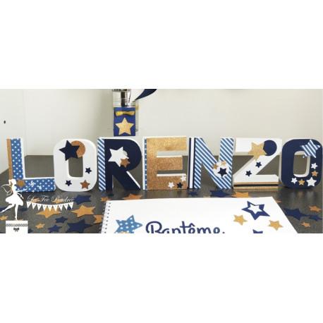 1 Lettre décorée 12cm Etoile bleu marine, doré et blanc