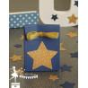 Boite à dragées bleu marine étoile et ruban dorés