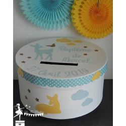 Urne ESSENTIELLE faon bleu pastel, jaune clair et blanc