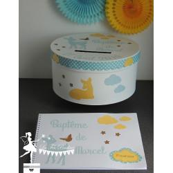 Livre d'or ESSENTIEL faon bleu pastel, jaune clair et blanc