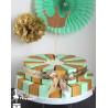 Gateau de dragées 24 parts vert amande et doré