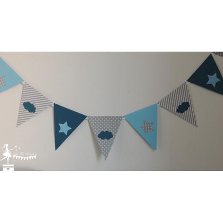 Guirlande de fanions bleu gris pétrole décor étoile et nuage