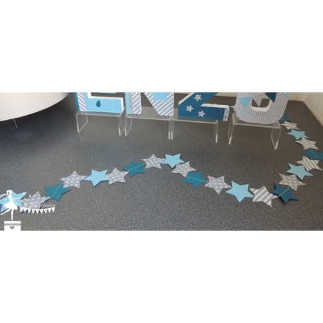 Guirlande d'étoiles cousues bleu pastel, gris et pétrole
