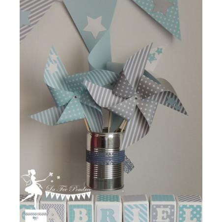 10 Moulins à vent bleu pastel gris clair décor étoile