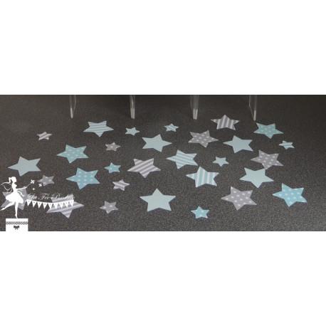 Sachet de confetti étoile bleu pastel et gris clair