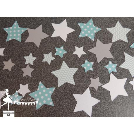 Sachet de confetti étoile bleu vert pastel, gris et blanc