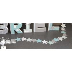 Guirlande d'étoiles cousues bleu et vert pastel, gris et blanc