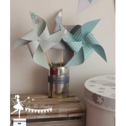 10 Moulins à vent bleu et vert pastel, gris et blanc décor étoile