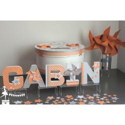 Sachet de confetti étoile orange gris et blanc