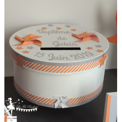 Urne ESSENTIELLE Moulin orange, gris et blanche