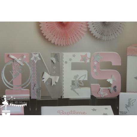 1 Lettre décorée 20 cm Fée papillon étoile rose pastel gris argent & blanc