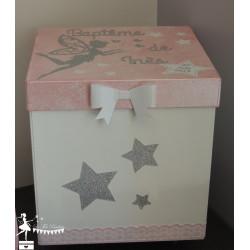 Boîte à souvenirs Fée Papillon Etoile rose, gris argent et blanc